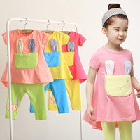 4T-5T Boy Summer 2013 Girl's Tee Sets Cat Short Tee + Leggings Sets Two-piece Short-sleeved Children's Clothing