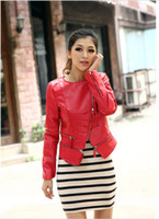 Women Leather_Like Street Fashion Round neck oblique zipper Slim handsome machine wagon jacket 7620