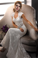 Wholesale Cap Sleeve Sheath Popular Tulle and Lace Sweetheart Sexy Backless Wedding Dresses