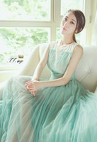 Wholesale New Style Hot sale wild fashion sweety princess chiffon summer mint green pleated maxi dress