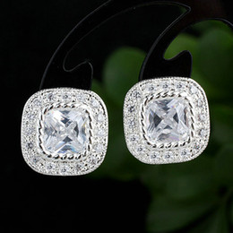 Women Cushion Base Square White Topaz Real Sterling Silver 925 Studs Earrings NAL E095