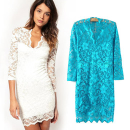Wholesale Sexy White Lace Embroidery Women s Dress High Waist Seven Point Sleeve V Neck Solid Color Laides Dresses Colors Pencil Skirts S019