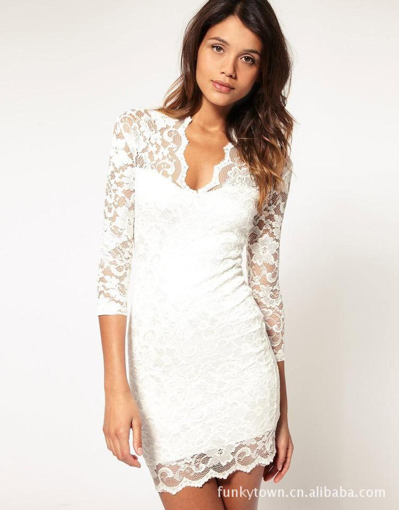 solid white dress - Dress Yp
