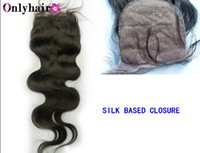 Brazilian Hair Natural Color Body Wave Free shipping Hot Sale Virgin Brazilian Hair Silk Base Closure Body Wave 4x4""