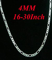 Wholesale 8 Size Fashion Silver mm Figaro Chain Necklace Men s Necklace Inch Can be mixed