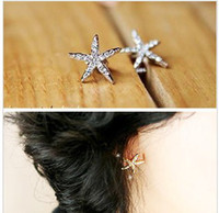 Wholesale E2027 Simple and elegant sweet full of diamond starfish earrings paris x1 cm
