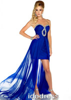 Wholesale TOP Grade Blue Prom Short Dresses Best Selling Sheath Sweetheart Hi Lo Chiffon Beads Ruffle MK08L51