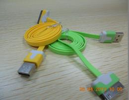 3g usb libre en Línea-Cable de sincronización de datos del cargador 500pcs buena calidad colorido 1m fideos plana USB para 4 4g 3g 3 envío libre