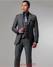 Wholesale High quality Two buttons Dark gray Notch Lapel Groom Tuxedos Groomsmen Men Wedding Suits Prom Clothing jacket pants waistcoat tie BM