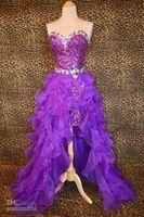 prom dresses 2012 - 2012 Hi Lo detachable A Line Prom Dress Organza Sweetheart Beaded Zipper Sleeveless Party Dress A13
