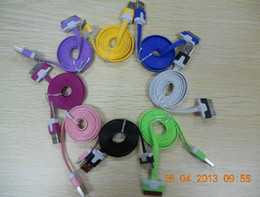 300pcs Good quality 1m colorful Noodle Flat USB Sync Data & Charger Cable For 4 free shipping