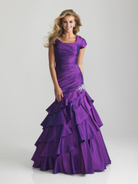 Wholesale 2013 New Arrival Elegant Purple Orange Hunter Scoop Ruffles Beads Stretch Satin Mermaid Long Plus Size Evening Dress Party Gowns Custom Made