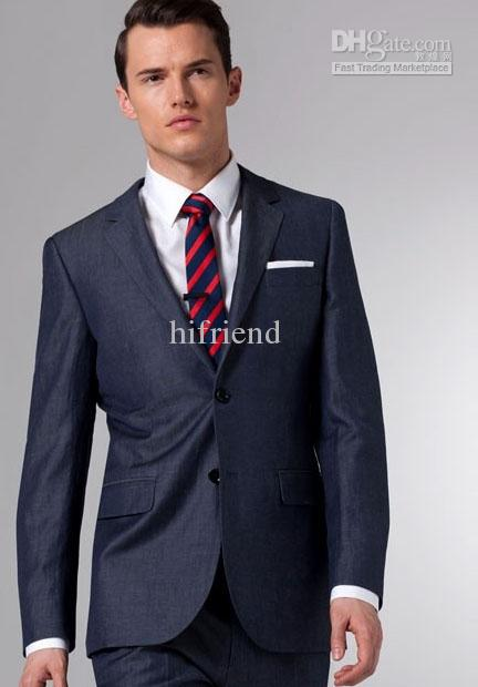 Custom Made New Dark Blue Suit Two Button Wool Wedding Suits Groom ...
