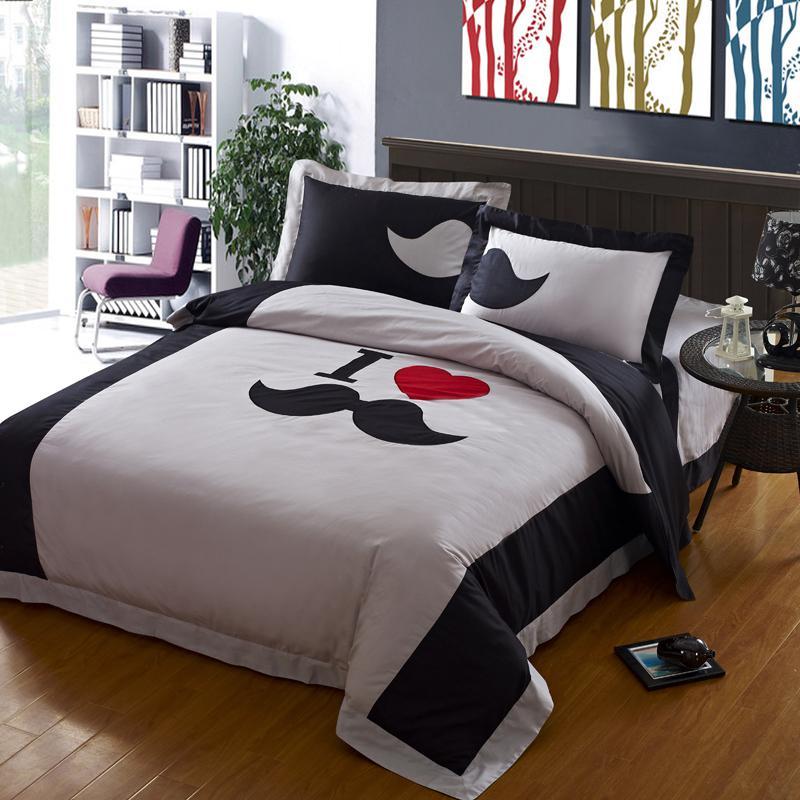 ... sets, designer funky mustache duvet cover set,modern black and white