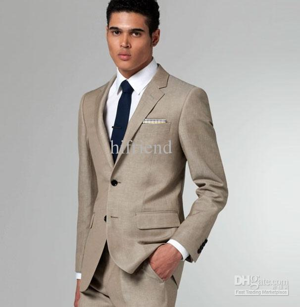 Custom Made New Khaki Suit Two Button Wool Wedding Suits Groom
