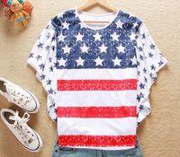 Women bat flag - Hot stylish fashion girl women USA flag T shirt loose bat style huge sleeves