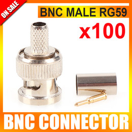 Wholesale 100PCS CCTV BNC Connector BNC male crimp plug for RG59 coaxial cable