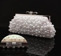 rhinestone handbags - Handmade Perfect Women s White Color Pearl Bow Satin Rhinestone clutch bags handbag purse evening bag banquet Bags