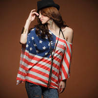 Wholesale New fashion irregular American flag pattern bat sleeve T shirt