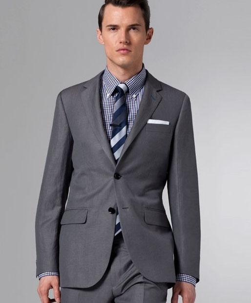 Custom Made New Dark Grey Suit Two Button Wool Wedding Suits Groom ...