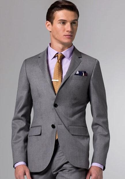 Custom Made New Grey Suit Two Button Wool Wedding Suits Groom ...