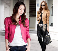 Women leather jackets for women - 2015 new PU leather short paragraph handsome collar motorcycle jacket for women