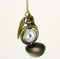 ball mens watch - bronze Harry Potter fly ball silver wings quartz pocket watches for mens woman necklace