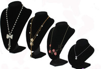 Wholesale Hot selling different size Black Velvet Bust Necklace Jewellery Display Stand jewelry holder