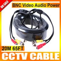 achat en gros de av câbles rca-20M Audio Vidéo 65FT BNC RCA Alimentation AV Câble Pour Caméra CCTV Surveillance DVR