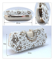 Wholesale Handmade Perfect Women s Gold Color Pearl Bow Satin Rhinestone clutch bags handbag purse evening bag banquet