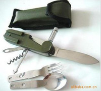 Wholesale Military industry design field survival multi function knife tableware With lamp multi purpose tableware