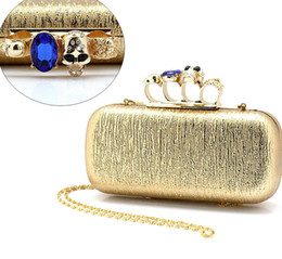Type-2 Gold color Ladies PU Skull Clutch Knuckle Rings Four Fingers Handbag Evening Purse Wedding bag Free shipping 03918b