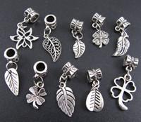 Wholesale 100pcs Tibetan Silver Leaf Dangle Beads Fit European Charm Bracelet mix fm95
