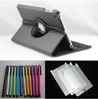 Wholesale 50pcs Degree Rotating Leather case Stylus pen Screen Protector for ipad mini