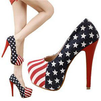 Wholesale Hot Fashion Women Lady Platform Pumps American Flag Stiletto High Heels Shoes