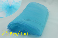 Wedding Organza Fabric ORGANZA CHAIR SASHES 25 pcs lot Turquoise Wedding Organza Chair Cover Sashes Sash Party Banquet Decor Bow Colours