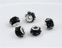 Wholesale 100 pieces Three dimensional flower shaped black stain glass beads silver DIY beads fit Necklace pandent bracelet earrings ZLZ