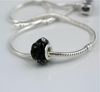 Wholesale Three dimensional flower shaped black stain glass beads silver DIY beads fit Necklace pandent bracelet earrings ZLZ