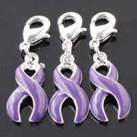 Round Copper Alloy Hearts, Love Charms Plated Silver Lobster clasps Dangle Purple Ribbon Breast Cancer Bead Fit Bracelet