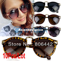 Wholesale 10Pcs New Fashion Retro Frame Unisex Sunglasses Hot Selling Plastic Sunglasses Eyewear Free