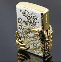 Wholesale High end Design Windproof Gold Dragon Kerosene Lighter for Business Gifts Friend Birthday Gift