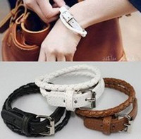 Wholesale 36pcs buckle leather bracelet hide rope fashion cheap promotion jewelry