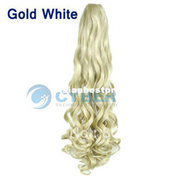 Wholesale Gold White Available Womens Clip in Ponytail Long Hair Piece Pony Tail Hair Extension