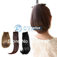 Wholesale New Women s Girls Clip in Pony Tail Hair Extension PonyTail Wavy Bouncy Straight Hair Style Piece