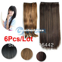 Wholesale 6Pcs Style Women s Lady Long Fashion Full Curly Wavy Straight Clip in Synthetic Hair Extension