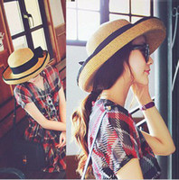 Wholesale summer new women s sun hat black bowknot ribbon edge straw hat beach caps