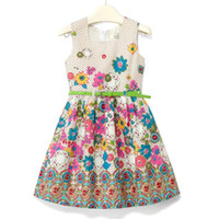 2T-3T Summer Sleeveless girls' summer dresses Baby one-piece dress dot ball gown tie robe Jumper skirt toddler's clothes flower gift girl braces skirts LM06