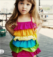 Wholesale 2013 KIDS Summer girls cute rainbow flouncing cake skirt swimsuit EMS