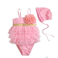 Wholesale 2013 newest baby girl swimwear flower one piece swimsuit with cap ems