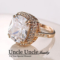 Wholesale Ultra big K Real Gold Plated Royal Oval Top Class Cubic Zircon Wedding Diamond Luxury Finger Ring